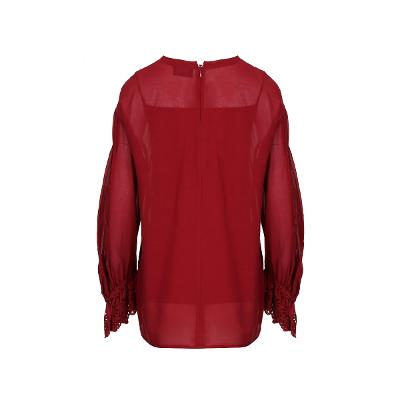 pin-tuck detail blouse red